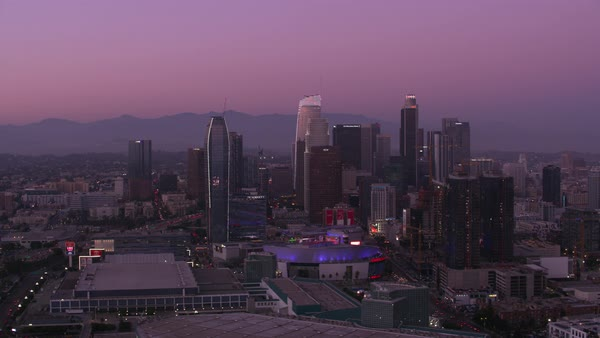 Aerial shot of Los Angeles at sunset.   Royalty-free stock video