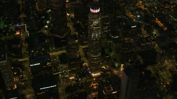 Overhead view of US Bank tower at night.   Royalty-free stock video