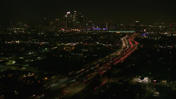 Aerial shot of Los Angeles at night.   Royalty-free stock video