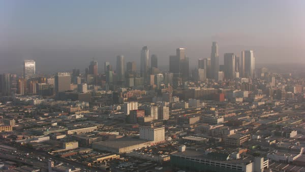 Aerial shot of Los Angeles in early morning clouds.   Royalty-free stock video