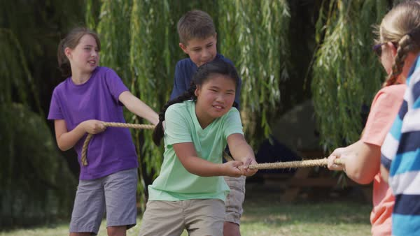 Kids at summer camp playing tug or war Royalty-free stock video