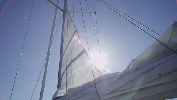 Sail on boat is raised. Royalty-free stock video