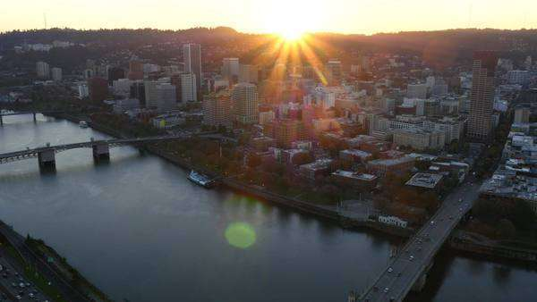 City of Portland, Oregon at sunset, aerial shot Royalty-free stock video