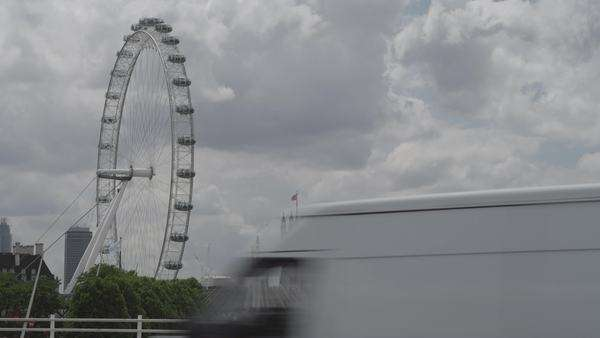 Wide-angle shot of the London Eye in London, UK Royalty-free stock video