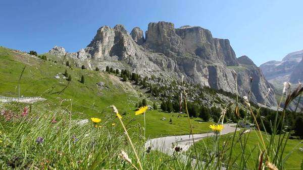 Dolomites,  Passo Sella,  Mountain Landscape,  Italian Alps Royalty-free stock video