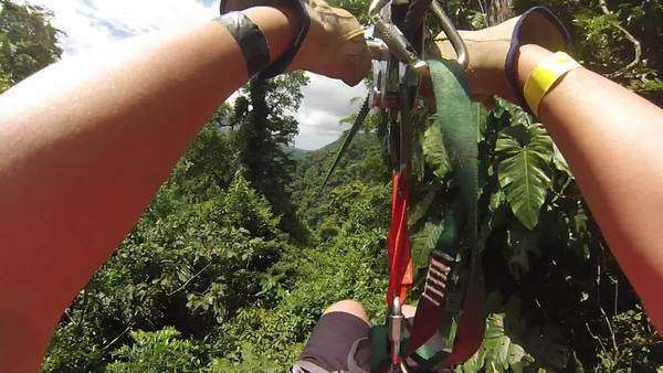POV zip lining over the rainforest in Costa Rica Royalty-free stock video