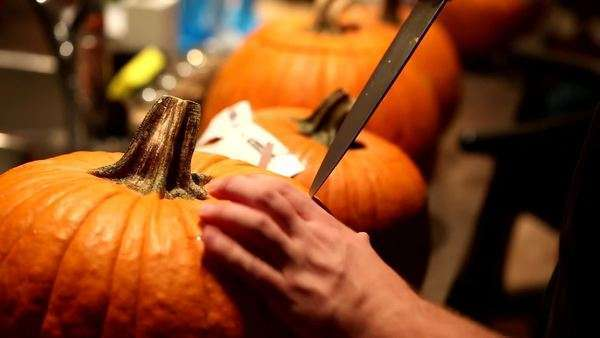 Close-up shot of man cutting lid on pumpkin Royalty-free stock video