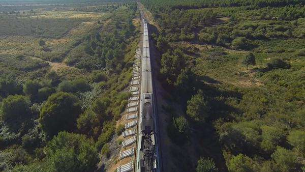Train running over railway in the forest at sunset, aerial view Royalty-free stock video