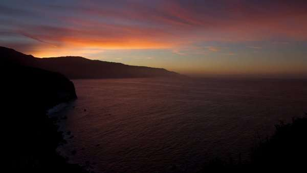 Sunrise over the Pacific seen from Big Sur, California, USA. Royalty-free stock video