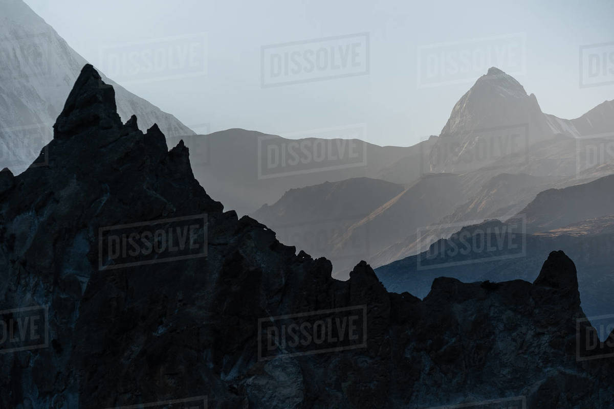 View on Himalaya mountains at the evening during Annapurna Circuit. Royalty-free stock photo
