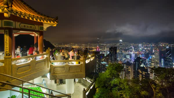 Lion's Pavilion lookout point at Victoria Peak, Hong Kong Island, Hong Kong, China - Time lapse Royalty-free stock video