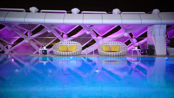 Yas Marina Hotel pool, Yas Island, Abu Dhabi, United Arab Emirates, UAE Royalty-free stock video