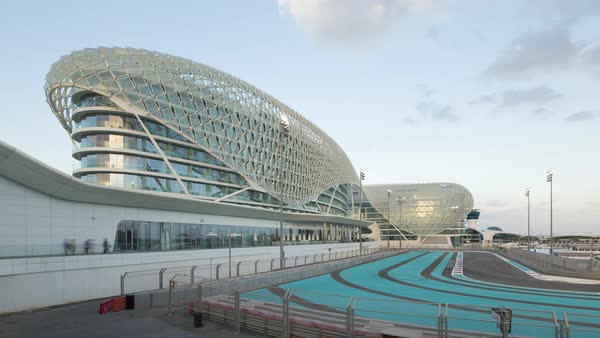 Yas Marina Hotel and Formula 1 race track, Yas Island, Abu Dhabi, United Arab Emirates, UAE Royalty-free stock video