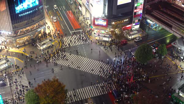 Asia, Japan, Tokyo, Shibuya, Shibuya Crossing - crowds of people crossing the famous crosswalks at the centre of Shibuyas fashionable shopping and entertainment district - elevated view Royalty-free stock video