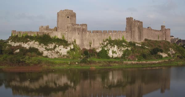 United Kingdom, Wales, Pembrokeshire, Pembroke Castle Royalty-free stock video