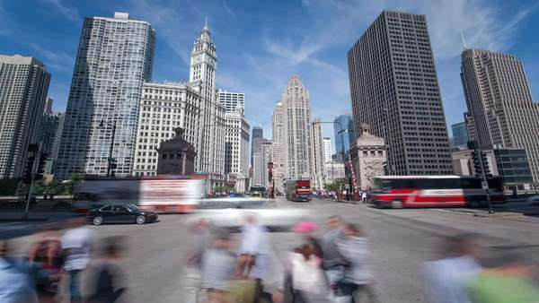 USA, Illinois, Chicago, Downtown traffic Royalty-free stock video