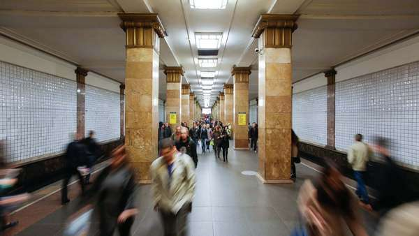 Russia, Moscow, Metro station platform - timelapse Royalty-free stock video