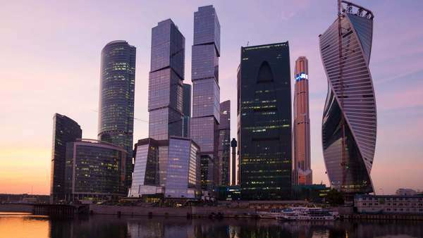 Russia, Moscow, skyscrappers of the Modern Moscow-City International business and finance development - timelapse Royalty-free stock video