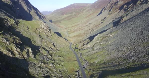 View down Gatesgarthdale valley from the Slate Mine, Honister Pass, Lake District National Park, Cumbria, England, UK Royalty-free stock video