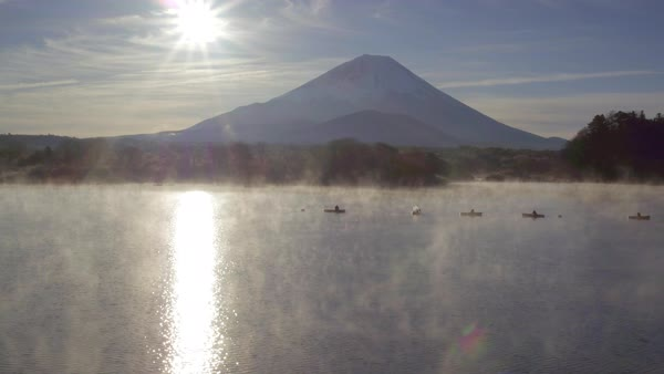Sunrise over Lake Shoji and Mt Fuji, Fuji Hazone Izu National Park, Japan Royalty-free stock video