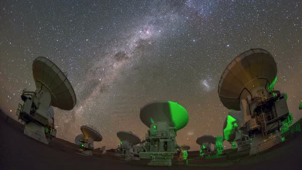 ALMA radio telescopes. Time-lapse footage of the Milky Way over the Atacama Large Millimeter Array (ALMA) radio telescopes in the Atacama Desert, Chile. Rights-managed stock video