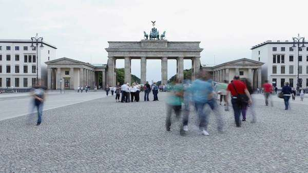 Timelapse footage of the Brandenburg Gate in Pariser Platz, Berlin, Germany. Rights-managed stock video