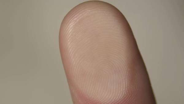 Human fingerprint seen by pressing the fingertip down onto glass. Rights-managed stock video