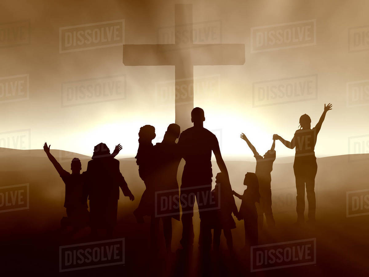 Silhouettes of family and people at the Cross of Jesus Christ. High-resolution 3D. Royalty-free stock photo
