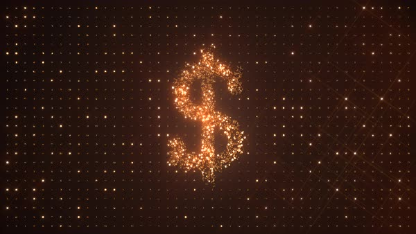 US dollar symbol $ made from rotating glittering golden coins on dark background. USD. Perfect loop. Royalty-free stock video