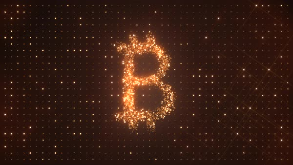 Bitcoin symbol made from rotating glittering golden coins on dark background. XBT or BTC crypto currency. Perfect loop. Royalty-free stock video