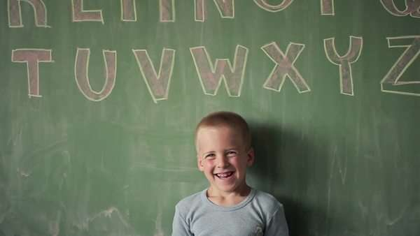 Portrait of a Smiling Caucasian Schoolboy Royalty-free stock video