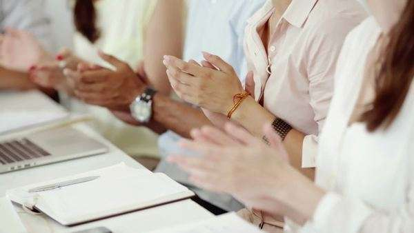 Hands of business people applauding in a meeting. Royalty-free stock video