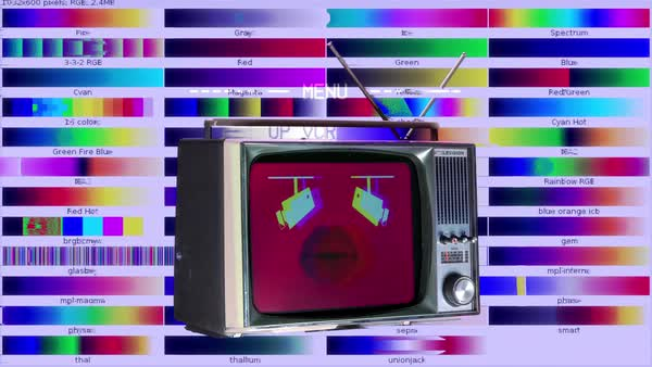 Television test patterns and colour bars with glitch