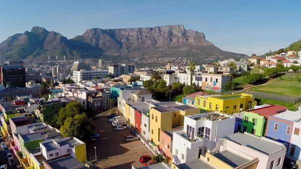 Aerial shot of Bo-Kaap in Cape Town Rights-managed stock video
