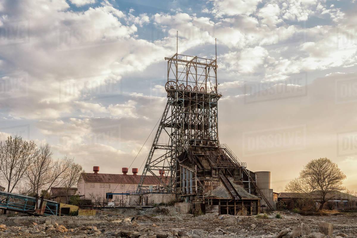 Abandoned mine shaft, Johannesburg stock photo