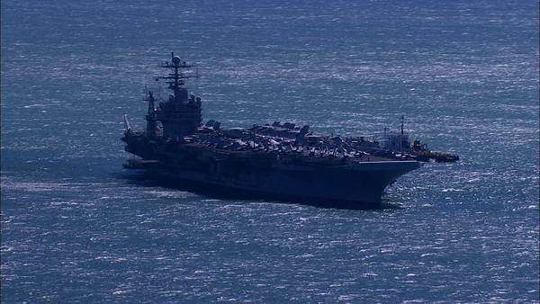 Aerial of an Aircraft Carrier Rights-managed stock video