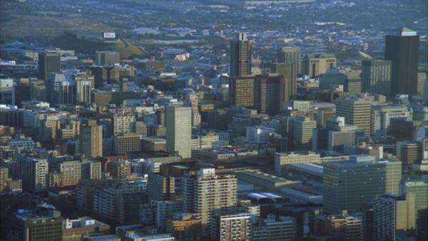 Aerial of the Johannesburg Central Business including the Hillbrow Tower during early morning/evening Rights-managed stock video