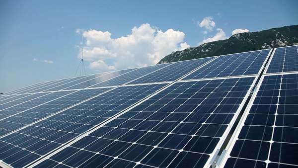 Solar panels with nature background Royalty-free stock video