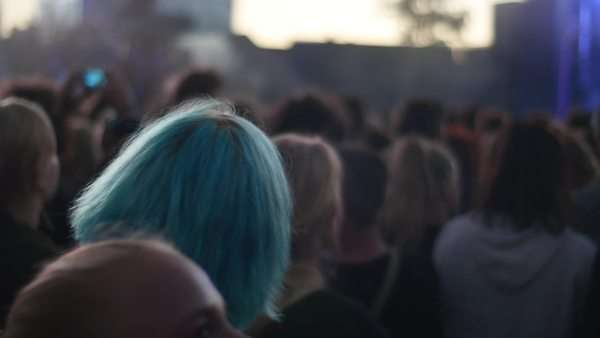 Close-up shot of the crowd at an open-air concert Royalty-free stock video