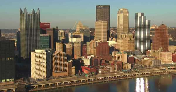 Downtown Pittsburgh, Pennsylvania at dusk. Royalty-free stock video