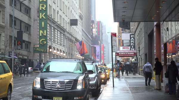 A New York city street scene in the rain. Royalty-free stock video