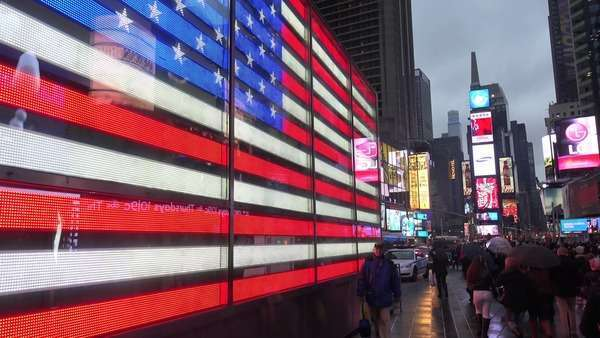 A neon American flag in Times Square, New York City. Royalty-free stock video