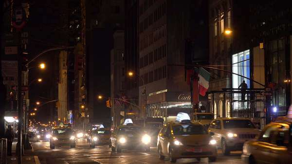 Taxis and traffic at night in New York City. Royalty-free stock video