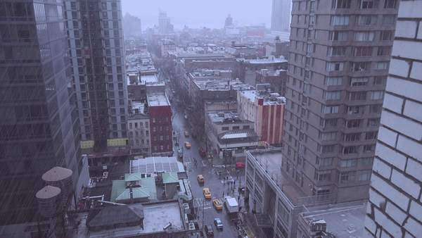 High angle over Manhattan New York with heavy rain falling. Royalty-free stock video