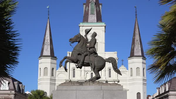 Beautiful Jackson Square and St. Louis cathedral in New Orleans, Louisiana. Royalty-free stock video