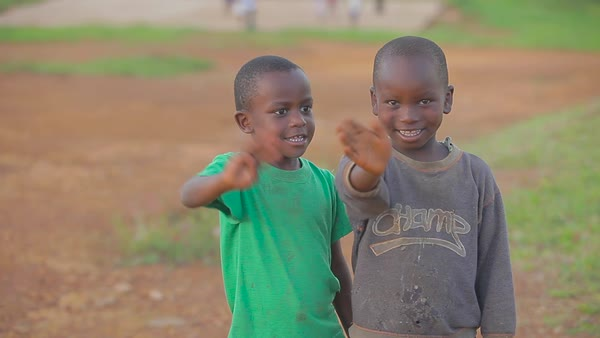 African children give a thumbs up to the camera. Royalty-free stock video