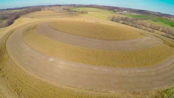Aerial over drumlin crop circles in rural Wisconsin. Royalty-free stock video