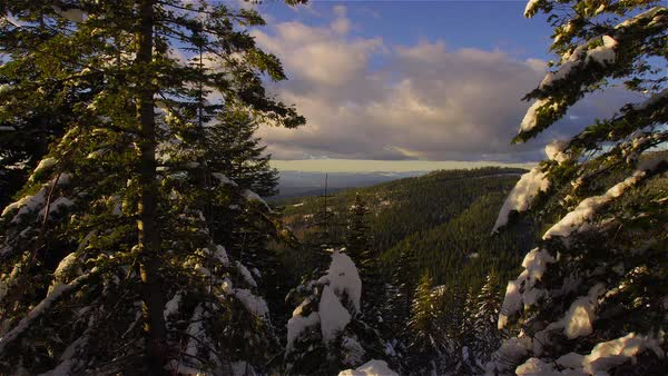Beautiful time lapse in winter of clouds moving over Lake Tahoe. Royalty-free stock video