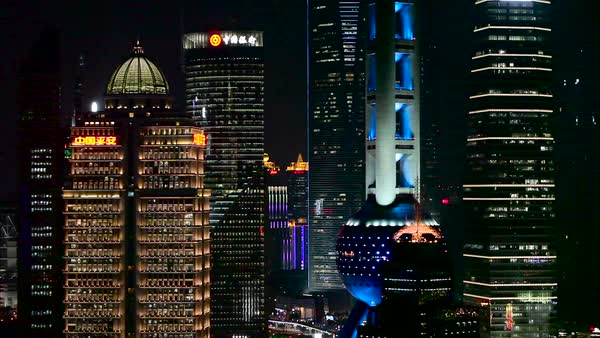 Establishing shot of the skyline of Shanghai, China at night. Royalty-free stock video