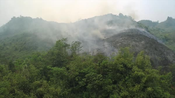 Aerial over a slash and burn mountainside burning. Royalty-free stock video